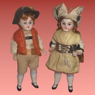 """SALE! Exceptional Pair of of 3 1/2"""" Antique German Factory Original All Bisque Glass Eyed Girl and Boy Doll!"""