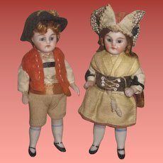 "SALE! Exceptional Pair of of 3 1/2"" Antique German Factory Original All Bisque Glass Eyed Girl and Boy Doll!"
