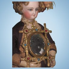 """EXQUISITE Antique French Ornate Brass """"Jeweled"""" Miniature Mirror!"""