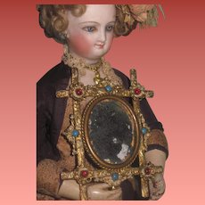 "EXQUISITE Antique French Ornate Brass ""Jeweled"" Miniature Mirror!"