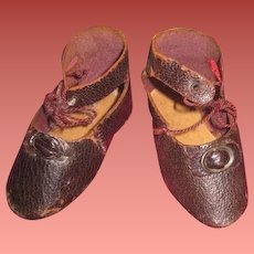 SALE! Fabulous Pair of Antique Brown Leather BRU STYLE Bebe Shoes!