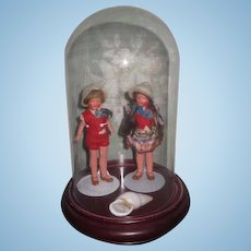 """SALE! Sweetest Pair of Factory Original 4"""" Painted All Bisque Boy/Girl Twin Dolls with GLASS DOME!"""