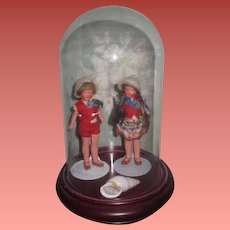 "SALE! Sweetest Pair of Factory Original 4"" Painted All Bisque Boy/Girl Twin Dolls with GLASS DOME!"