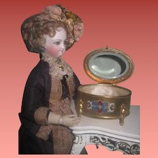 SALE! Gorgeous Enameled Brass Antique French Miniature Footed Trinket Box Vitrine for DOLL DISPLAY!