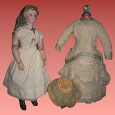 """MAGNIFICENT 16"""" Antique Bru Smiler French Fashion Doll with Patented Articulated WOOD BODY!"""