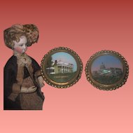 EXQUISITE Hard to Find Pair of Antique Miniature Reverse Painted Photographs with Original ORMOLU FRAMES!