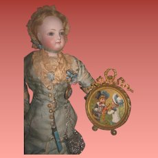EXQUISITE Antique French Miniature Ornate Brass Frame With Lithograph of DOLL & POLICHINELLE Toy!