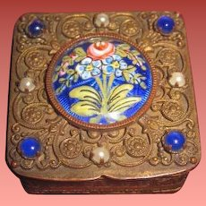 "EXQUISITE Rare Antique Miniature French Bronze ""Jeweled"" & Enameled Tiny Trinket Box for FASHION DOLLS!"