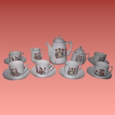 SALE! Rare and Complete Set for 6 Antique German Porcelain Tea Set with VICTORIAN CHILDREN Motif!