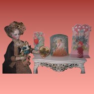 CHARMING Collection of 5 Antique/Vintage Valentine's Day Greeting Cards for DOLL DISPLAY!