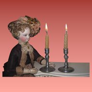 BEAUTIFULLY MADE Pair of Miniature Vintage Pewter Candlesticks for your FASHION DOLL!