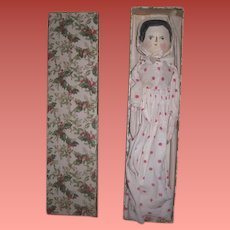 "ENDEARING 11 1/2"" Vintage Painted Peg Wooden Doll in Christmas Presentation Box"