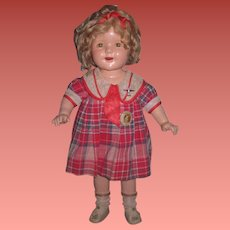 "EXCEPTIONAL Factory Original Vintage 20"" Ideal Composition Shirley Temple Doll from ""BRIGHT EYES""!"