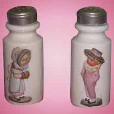 SWEET Set of Antique Porcelain Kate Greenaway Style Figural Salt & Pepper Shakers!