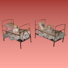 PRECIOUS PAIR of Fully Appointed Antique Gold Metal Doll Beds with Tiny BISQUE BABIES!