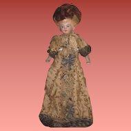 """EXQUISITE All Original Antique German 6"""" German Dollhouse Lady Doll~ELABORATE Hand Beaded Silk Gown!"""