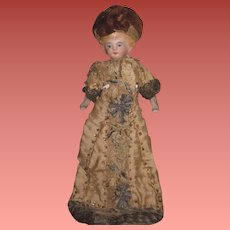 "EXQUISITE All Original Antique German 6"" German Dollhouse Lady Doll~ELABORATE Hand Beaded Silk Gown!"