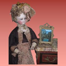 SALE! Magnificent 1880's Miniature Scenic Painting with Elaborate Ormolu Frame for FASHION DOLL!