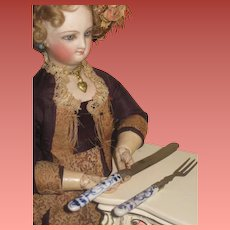 Fabulous Hard to Find Antique Miniature Two Piece Meissen Utensil Set for FASHION DOLLS~1 of 7 Sets!