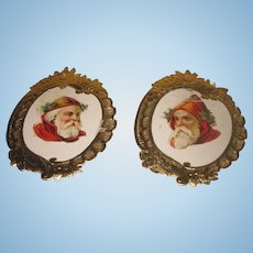 CHARMING Pair of Antique Miniature German Santa Cameo Diecuts with Fancy Gold Dresden Paper Frames!