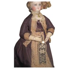 EXQUISITE HTF Antique Miniature Hand Beaded French Fashion Doll Chatelaine!