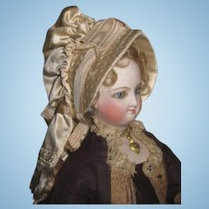 SPECTACULAR Antique Cream Silk French Fashion Doll Bonnet~MINT!!