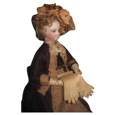 FABULOUS HTF Pair of Antique French Fashion Doll Embroidered Cream Cloth Gloves!