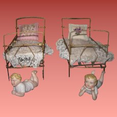 SALE! Precious Pair of Antique Gold Metal Doll Beds with Tiny BISQUE BABIES!