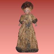 "SALE! All Original Antique German 6"" German Dollhouse Lady Doll~ELABORATE Hand Beaded Silk Gown!"