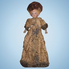 "SALE! All Original Antique German 6"" German Dollhouse Lady Doll~ELABORATE Hand Beaded Silk Gown!"