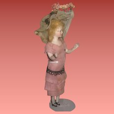 """INVENTORY SALE! Rare All Original 5 1/2"""" Antique German Lady Dollhouse Doll with Bent Arms and MOLDED BREASTS!"""
