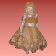 "INVENTORY SALE! Sweet Antique 4 1/2"" All Original Antique German Dollhouse Little Girl Doll in Fancy LACE DRESS!"
