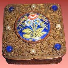 "INVENTORY SALE! Rare Antique Miniature French Bronze ""Jeweled"" & Enameled Tiny Trinket Box for FASHION DOLLS!"
