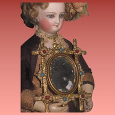 """INVENTORY SALE! Exquisite Antique French Ornate Brass """"Jeweled"""" Miniature Mirror!"""