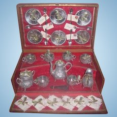 Magnificent and Rare Smaller Scale Antique Fancy French Miniature Silver Teaset in Original Presentation Box!