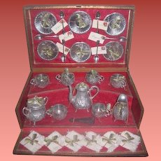 SALE! Magnificent and Rare Smaller Scale Antique Fancy French Miniature Silver Teaset in Original Presentation Box!