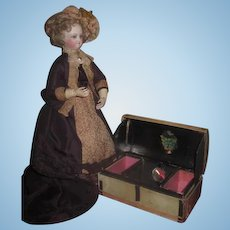 INVENTORY SALE! Rare Antique French Victorian Miniature Authentic Horsehide Candy Container/Specimen Box Trunk!