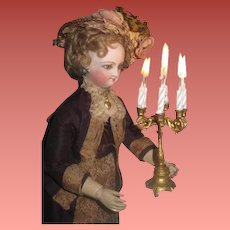 INVENTORY SALE! Ornate Antique Large Scale German Miniature Gilded Metal Candelabra!