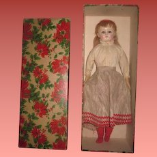 INVENTORY SALE! Exceptional Antique Factory Original Painted Paper Mache Girl Doll in Christmas Presentation Box!