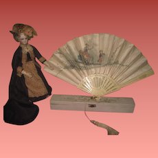 INVENTORY SALE! MAGNIFICENT Antique Victorian Hand Painted Silk & Bone Fan with Original Box for DOLL DISPLAY!