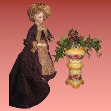 EXQUISITE Antique Austrian Miniature Floral Porcelain Pedestal Urn for Fashion Dolls!
