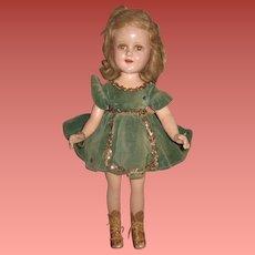 "CHARMING Large 18"" All Original Vintage Madame Alexander Composition Sonja Henie Skater Doll in GREEN VELVET!"