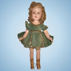 "CHARMING Large 18"" All Original Vintage Madame Alexander Composition Sonja Henie Skater Doll in GREEN VELVET!"