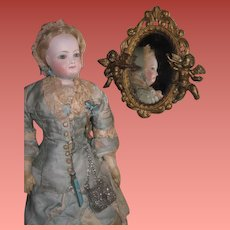 ENCHANTING Vintage Fancy French Style Miniature Gold Cherub Mirror!
