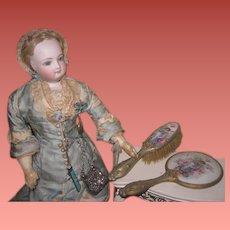 EXQUISITE Antique Victorian Miniature Porcelain Mirror and Brush Set with FAIRY MOTIF!