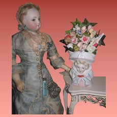 EXQUISITE Antique Porcelain Figural Miniature Mantel Vase with Gorgeous Floral Bouquet!