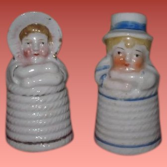 ENCHANTING Pair of Antique Miniature Porcelain Kate Greenaway Style Boy & Girl Pepper Shakers!