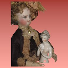 """GORGEOUS Antique German Hand Painted """"Marie Antoinette"""" Style China Half Doll!"""