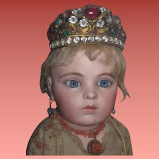 "RARE Antique French Miniature ""Jeweled"" Ormolu Santos Crown for FASHION DOLLS!"