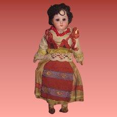 "CHARMING All Original 6 3/4"" Antique German Bisque Head European Ethnic Girl Doll!"